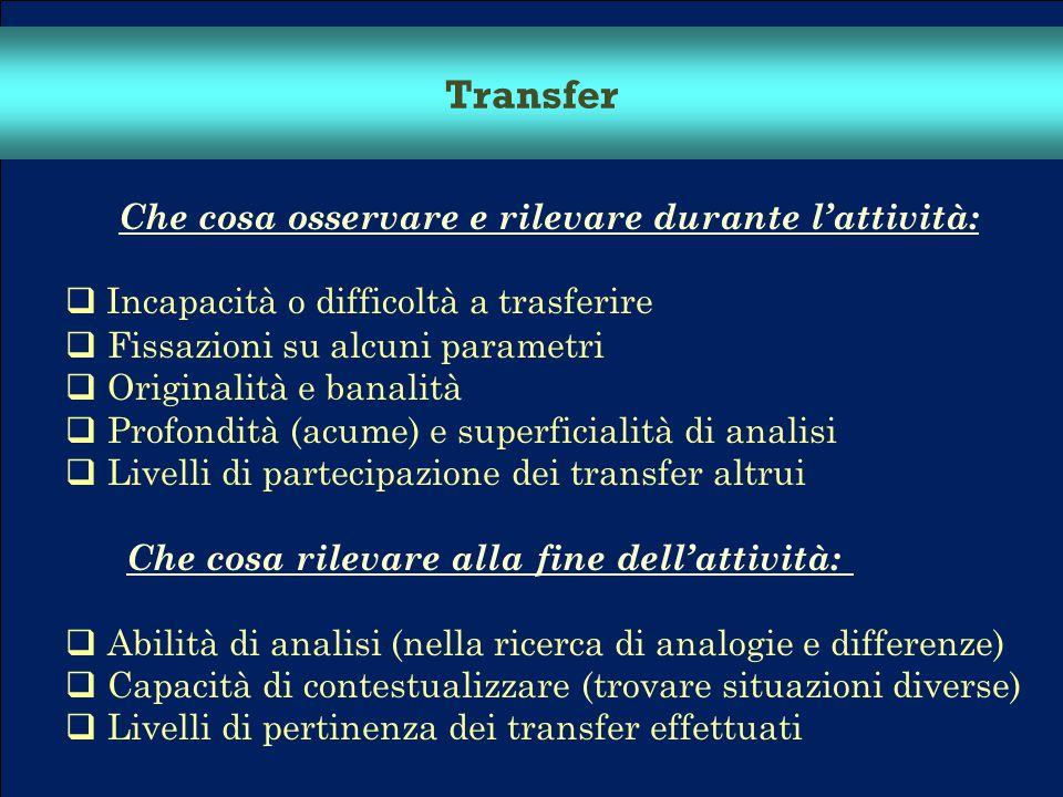 Transfer Che cosa osservare e rilevare durante l'attività: