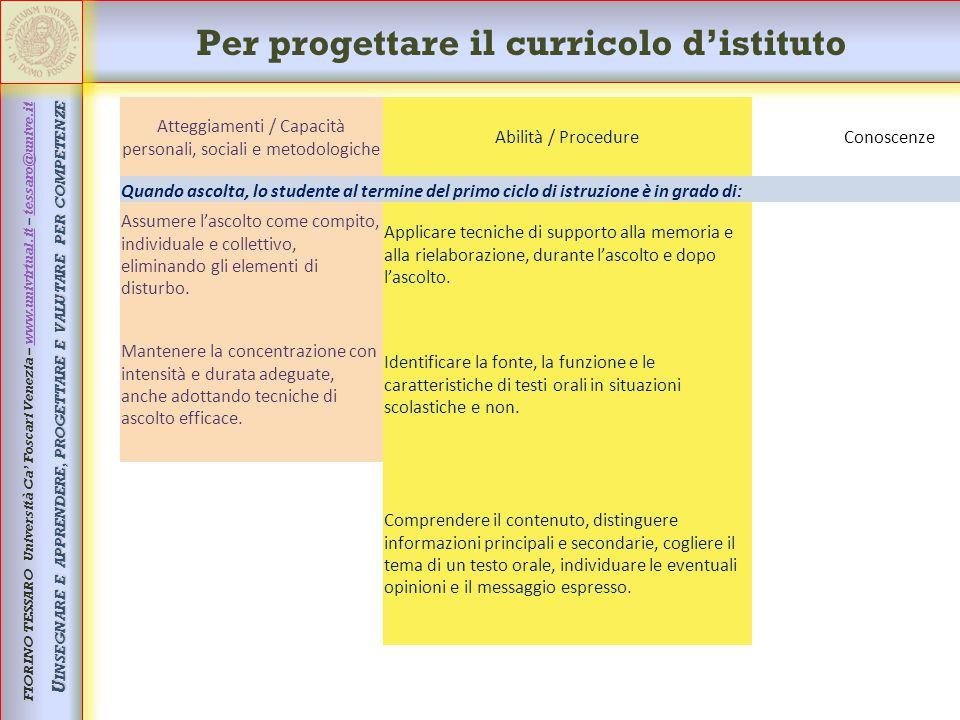 Per progettare il curricolo d'istituto