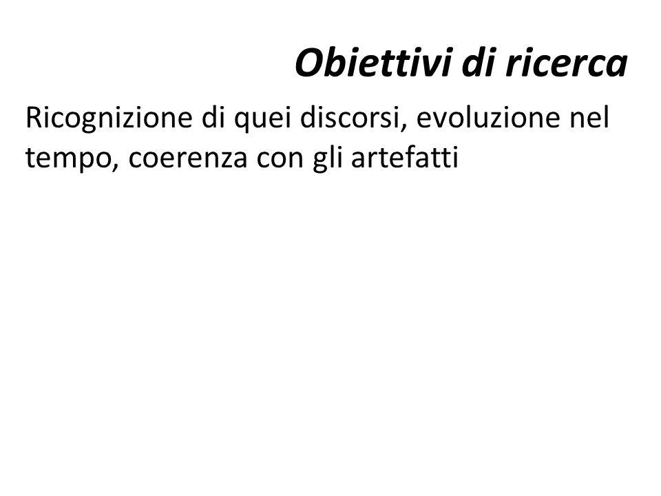 Obiettivi di ricerca Ricognizione di quei discorsi, evoluzione nel tempo, coerenza con gli artefatti.
