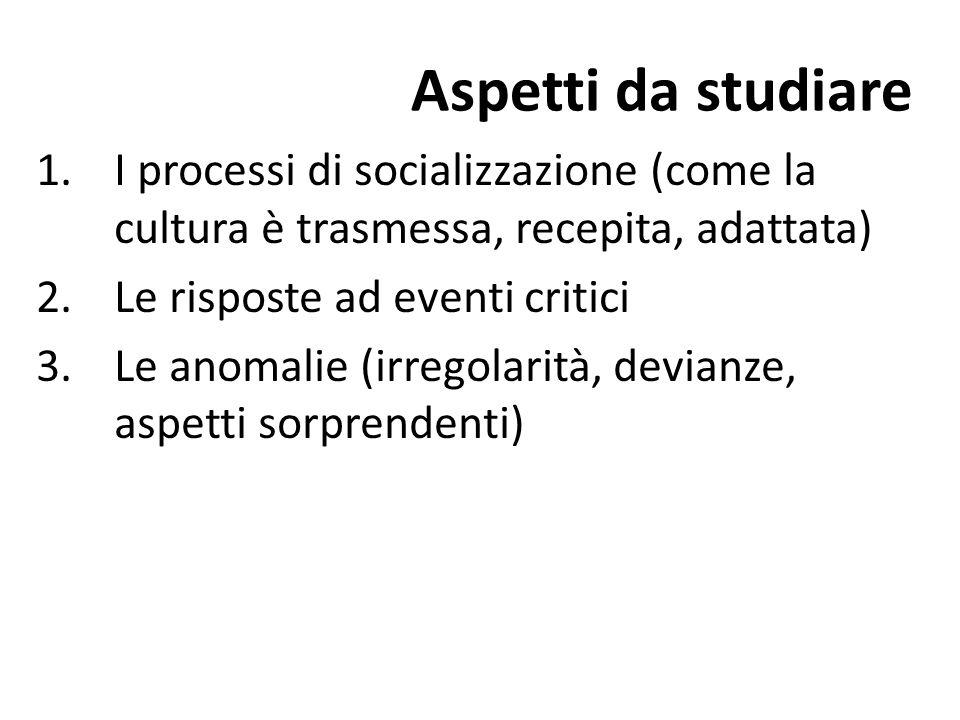Aspetti da studiare I processi di socializzazione (come la cultura è trasmessa, recepita, adattata)