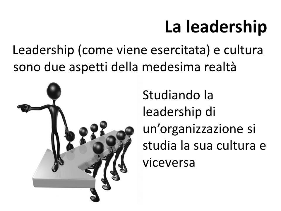 La leadership Leadership (come viene esercitata) e cultura sono due aspetti della medesima realtà.