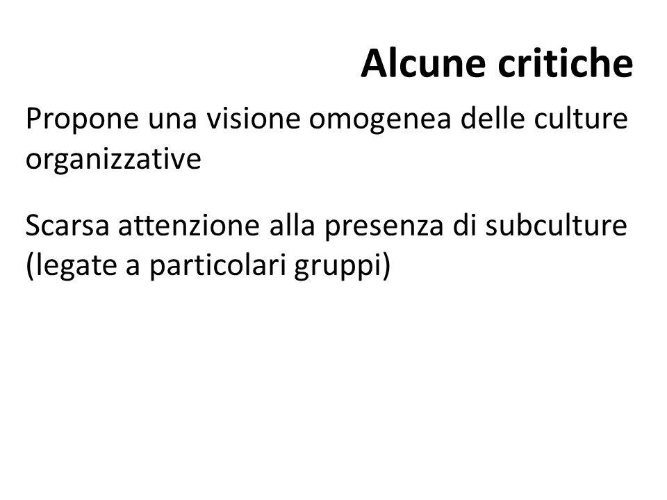 Alcune critiche Propone una visione omogenea delle culture organizzative.