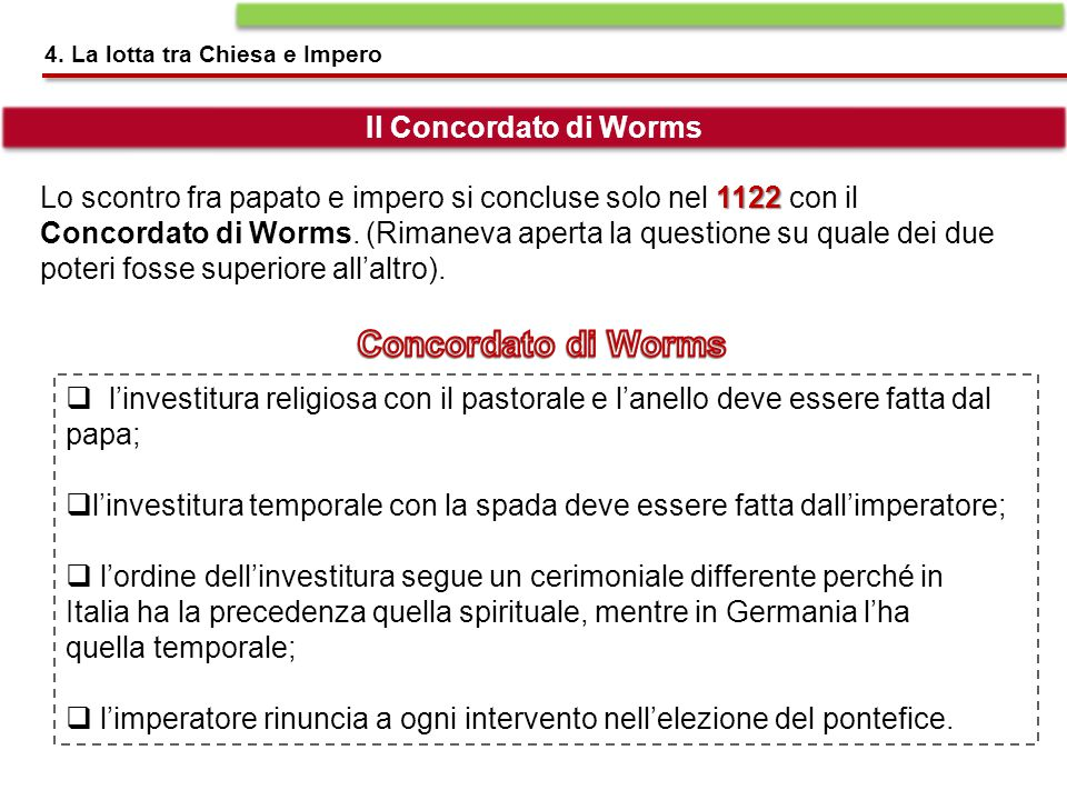 Concordato di Worms Il Concordato di Worms