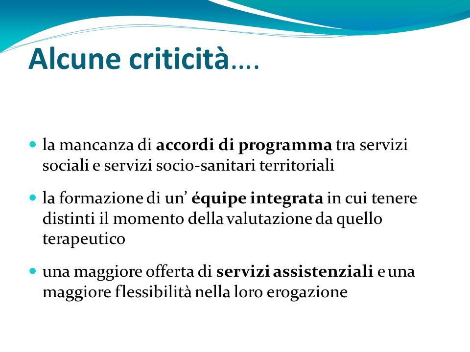Alcune criticità…. la mancanza di accordi di programma tra servizi sociali e servizi socio-sanitari territoriali.