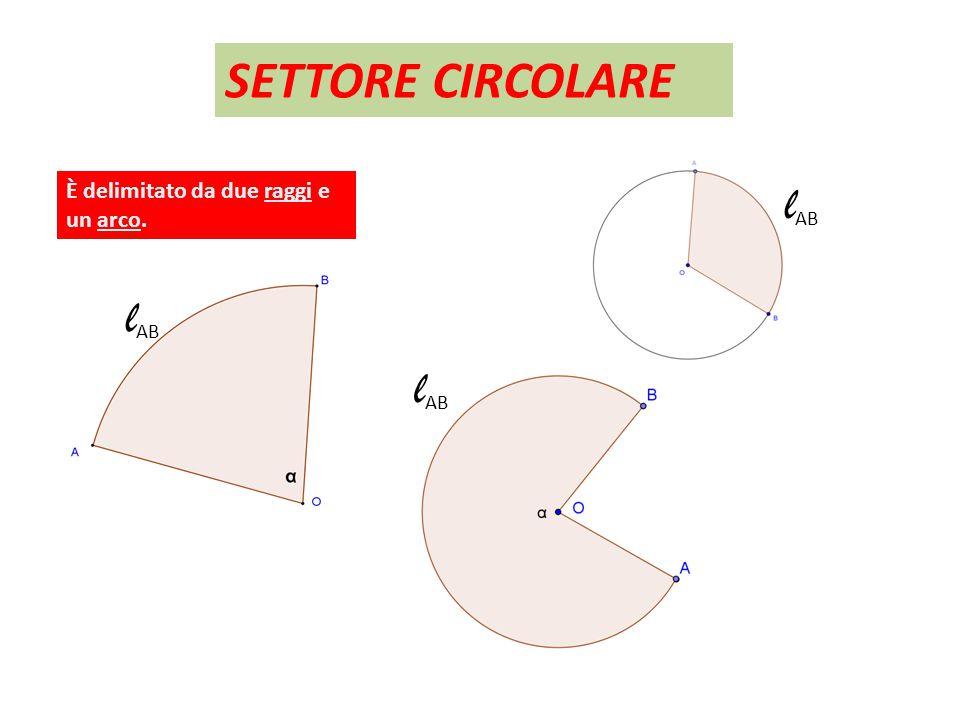 SETTORE CIRCOLARE È delimitato da due raggi e un arco. lAB lAB lAB