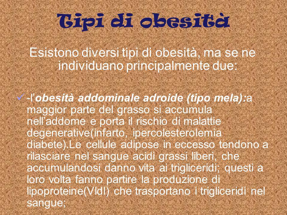 Tipi di obesità Esistono diversi tipi di obesità, ma se ne individuano principalmente due: