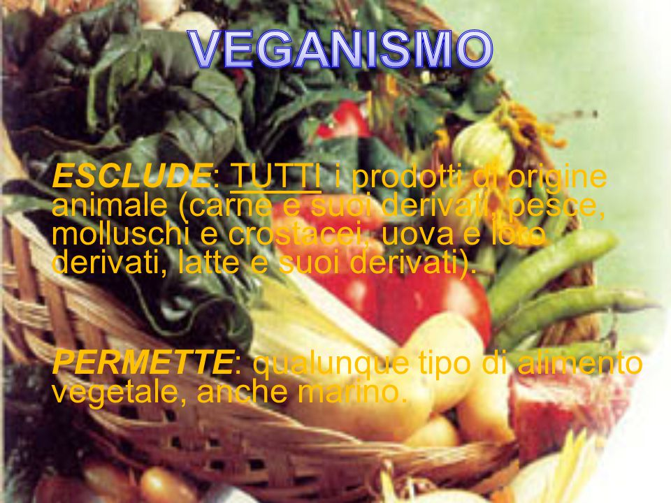 ESCLUDE: TUTTI i prodotti di origine animale (carne e suoi derivati, pesce, molluschi e crostacei, uova e loro derivati, latte e suoi derivati).