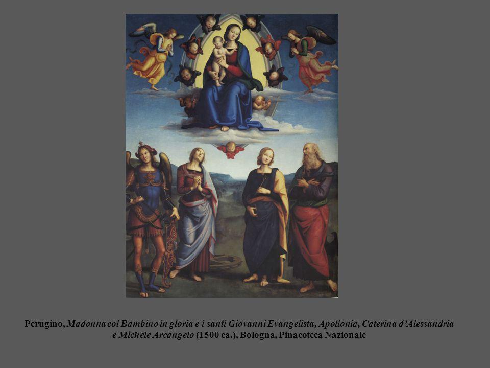 Perugino, Madonna col Bambino in gloria e i santi Giovanni Evangelista, Apollonia, Caterina d'Alessandria e Michele Arcangelo (1500 ca.), Bologna, Pinacoteca Nazionale