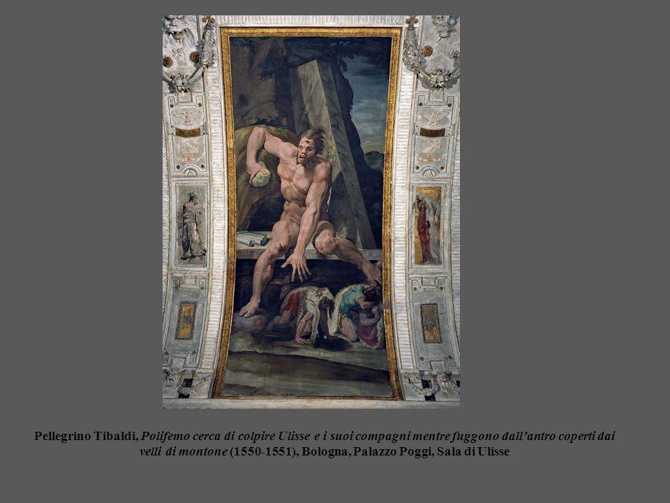 Pellegrino Tibaldi, Polifemo cerca di colpire Ulisse e i suoi compagni mentre fuggono dall'antro coperti dai velli di montone (1550-1551), Bologna, Palazzo Poggi, Sala di Ulisse