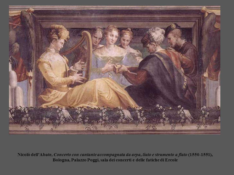 Nicolò dell'Abate, Concerto con cantante accompagnata da arpa, liuto e strumento a fiato (1550-1551), Bologna, Palazzo Poggi, sala dei concerti e delle fatiche di Ercole
