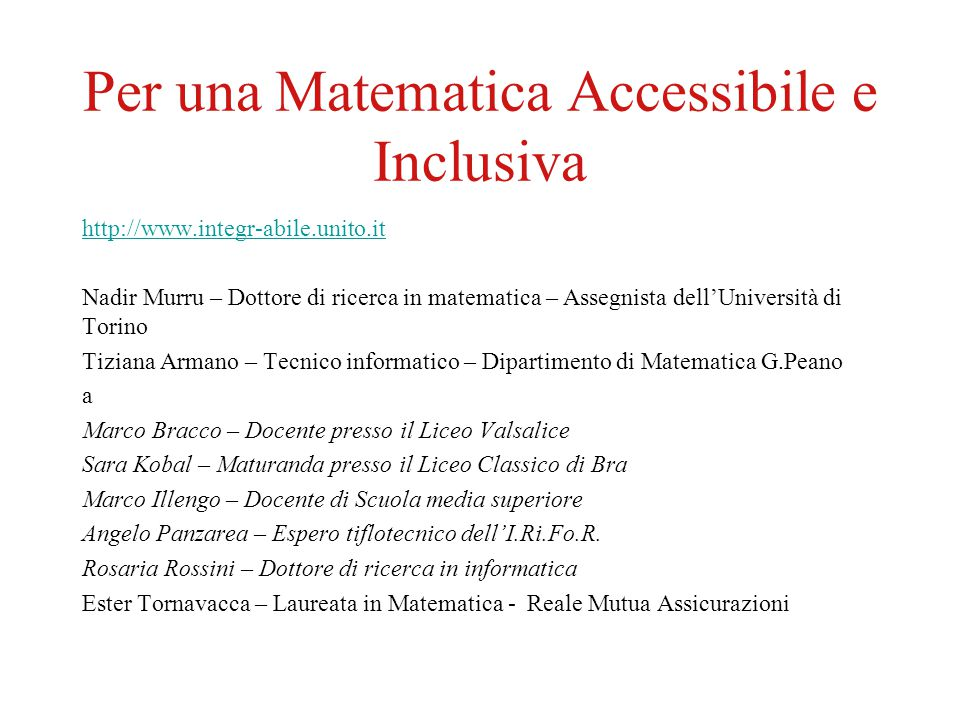 Per una Matematica Accessibile e Inclusiva