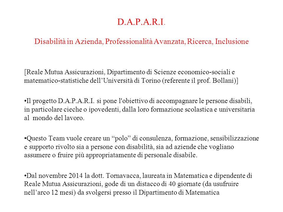 D.A.P.A.R.I. Disabilità in Azienda, Professionalità Avanzata, Ricerca, Inclusione