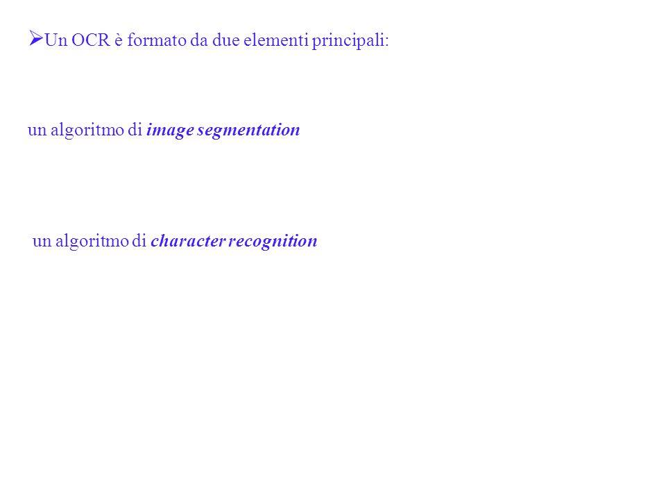 Un OCR è formato da due elementi principali: