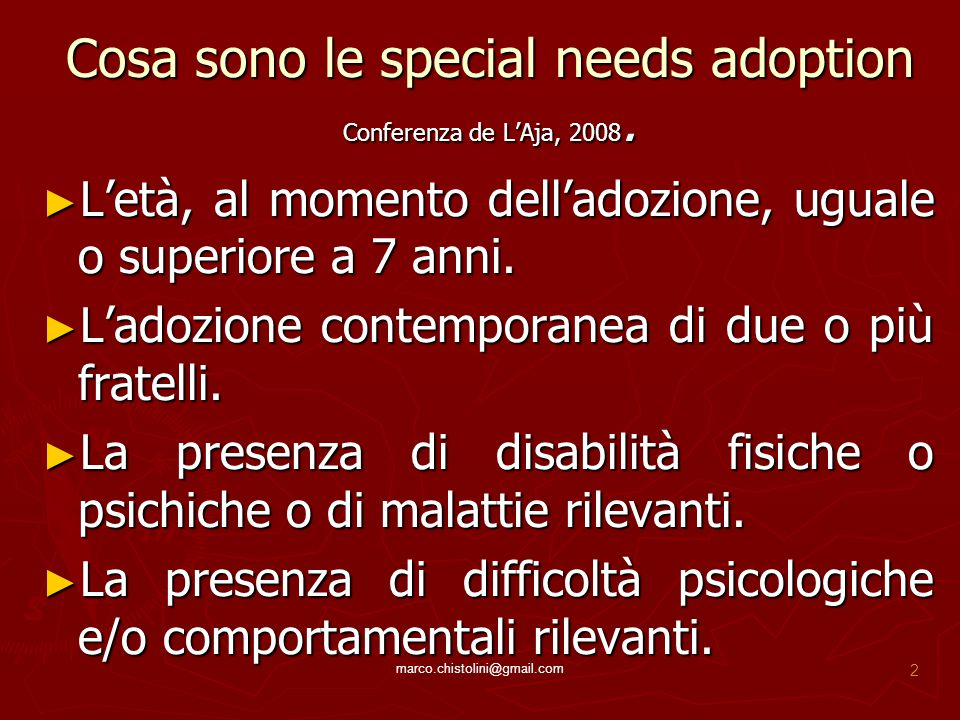Cosa sono le special needs adoption Conferenza de L'Aja, 2008.