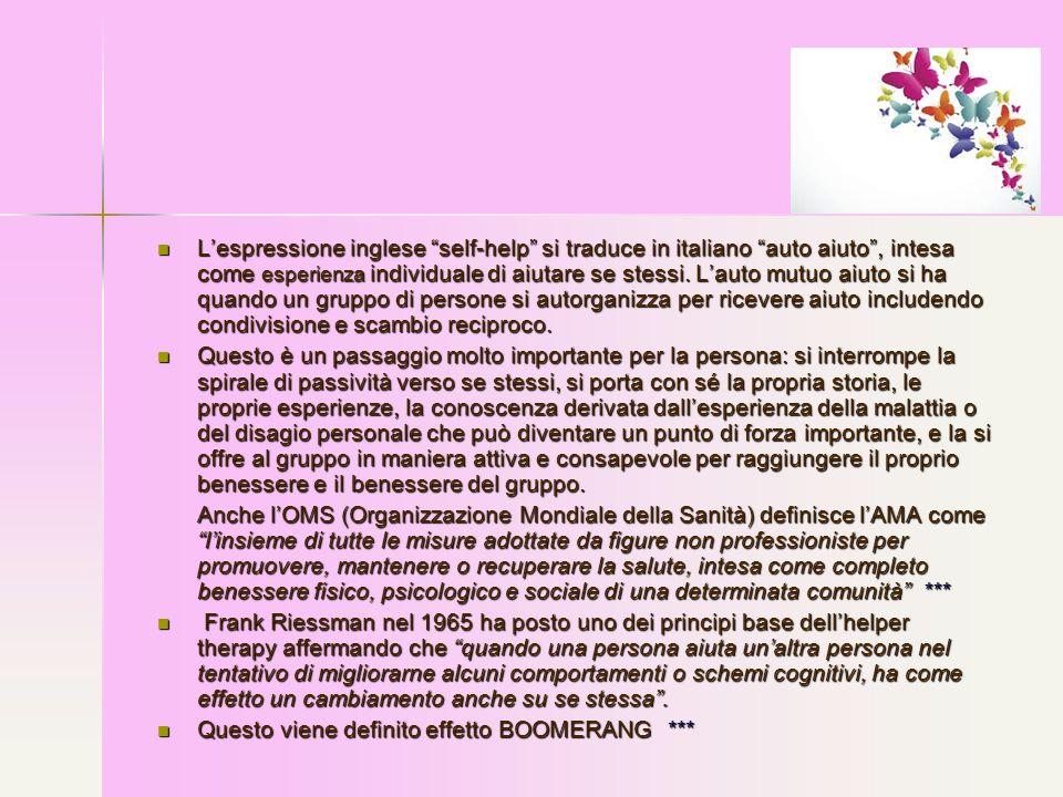 L'espressione inglese self-help si traduce in italiano auto aiuto , intesa come esperienza individuale di aiutare se stessi. L'auto mutuo aiuto si ha quando un gruppo di persone si autorganizza per ricevere aiuto includendo condivisione e scambio reciproco.