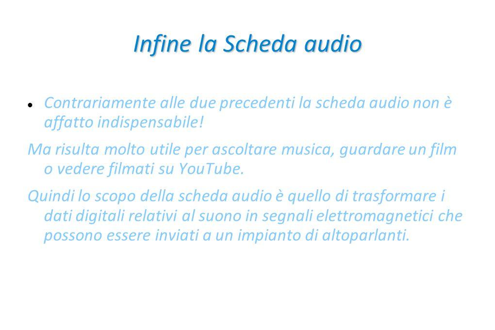 Infine la Scheda audio Contrariamente alle due precedenti la scheda audio non è affatto indispensabile!
