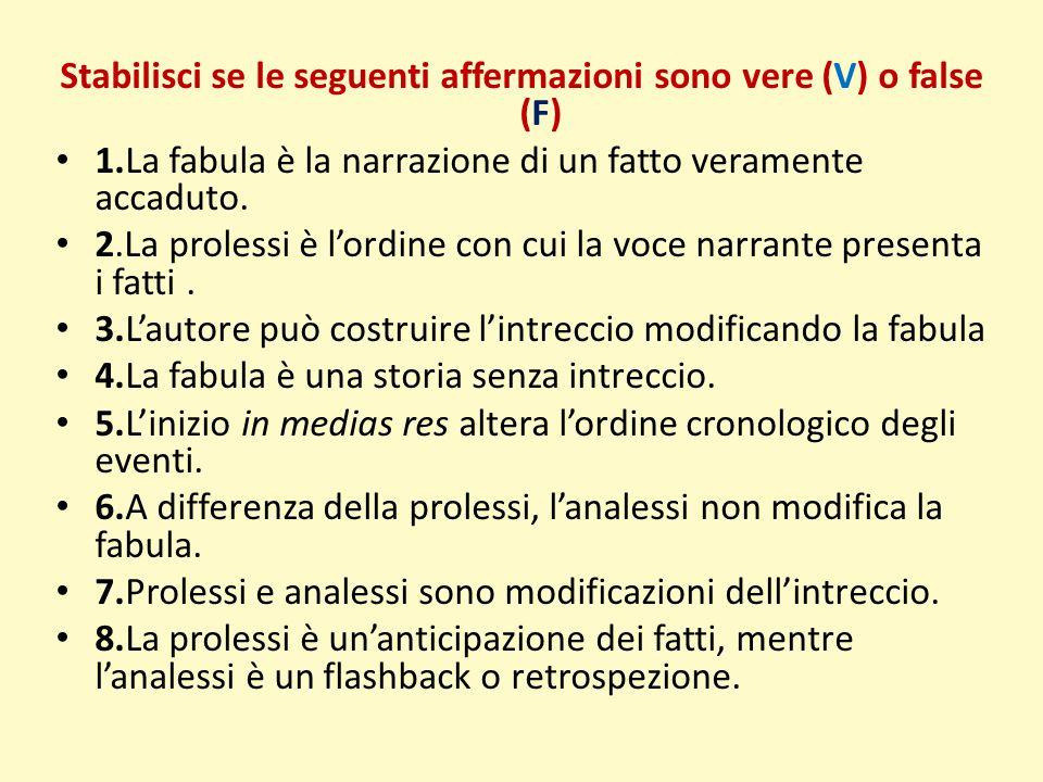 Stabilisci se le seguenti affermazioni sono vere (V) o false (F)