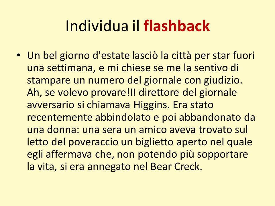 Individua il flashback