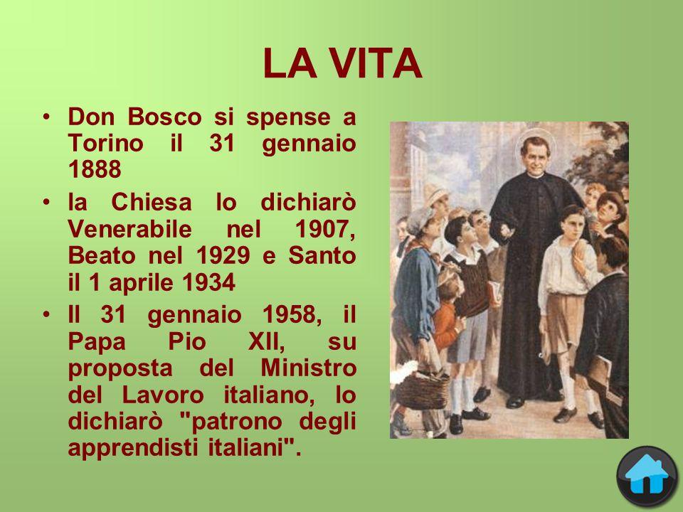 LA VITA Don Bosco si spense a Torino il 31 gennaio 1888