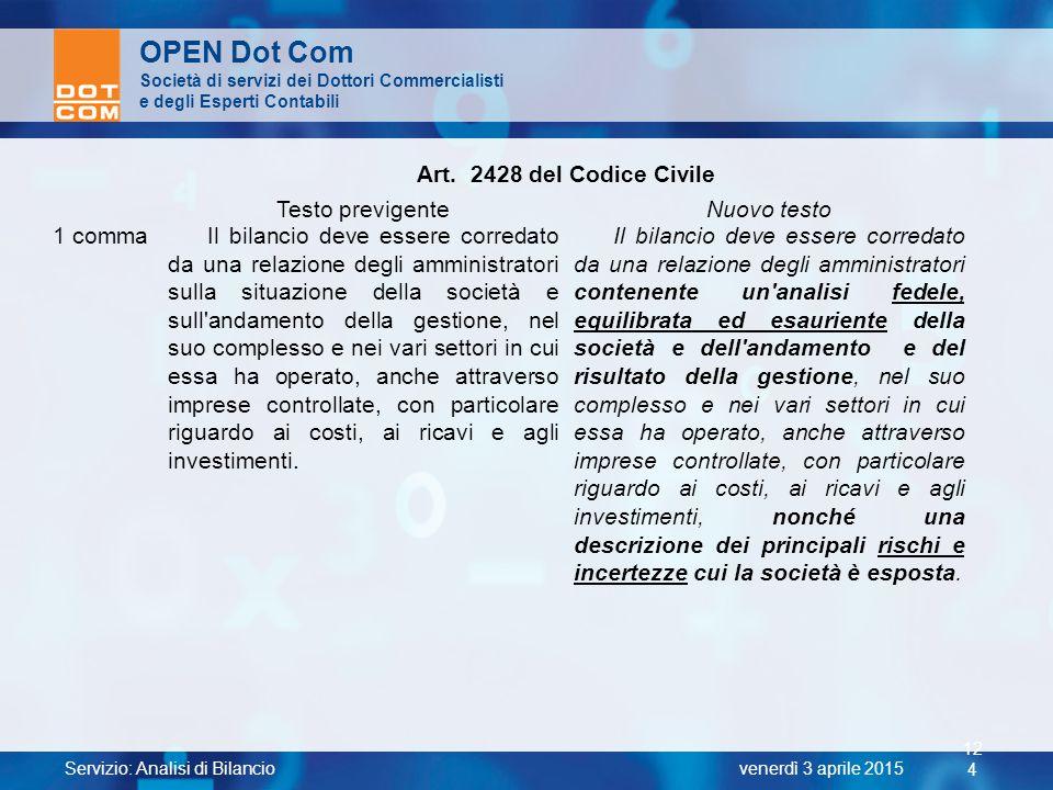 OPEN Dot Com Art. 2428 del Codice Civile Testo previgente Nuovo testo