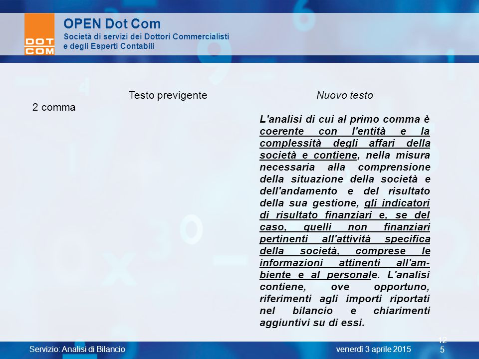 OPEN Dot Com Testo previgente Nuovo testo 2 comma