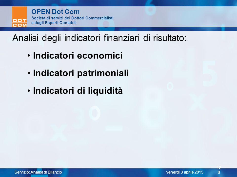 Analisi degli indicatori finanziari di risultato: Indicatori economici