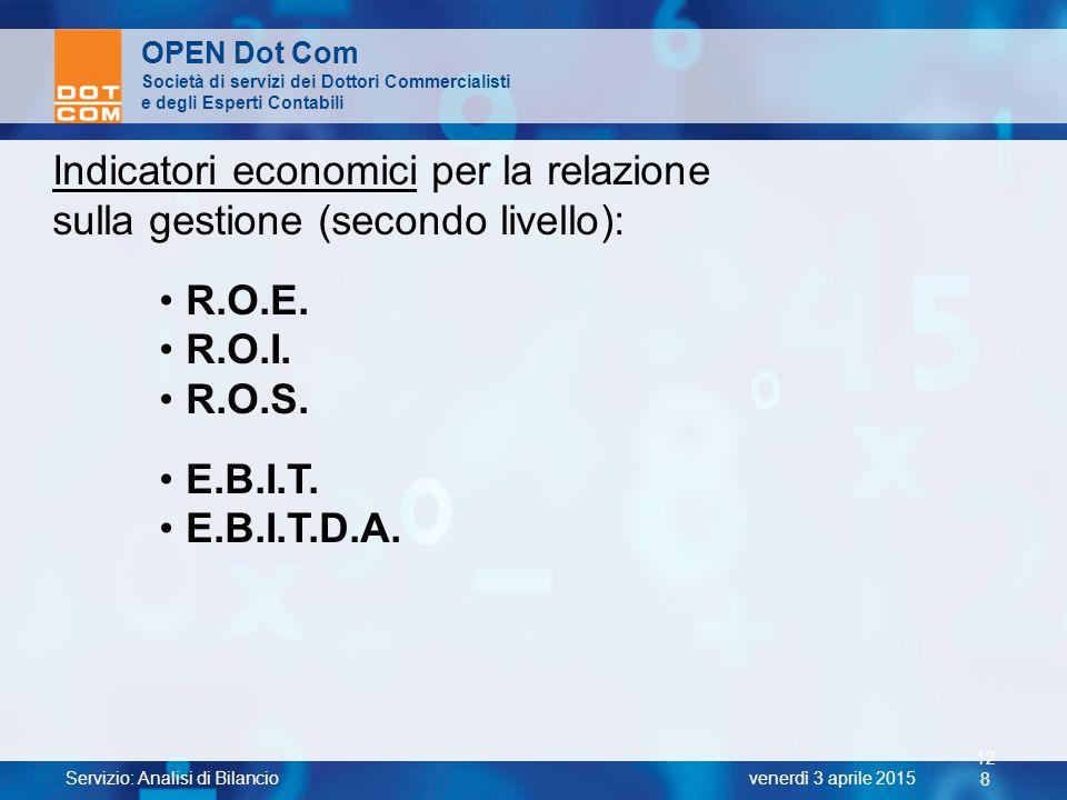 Indicatori economici per la relazione