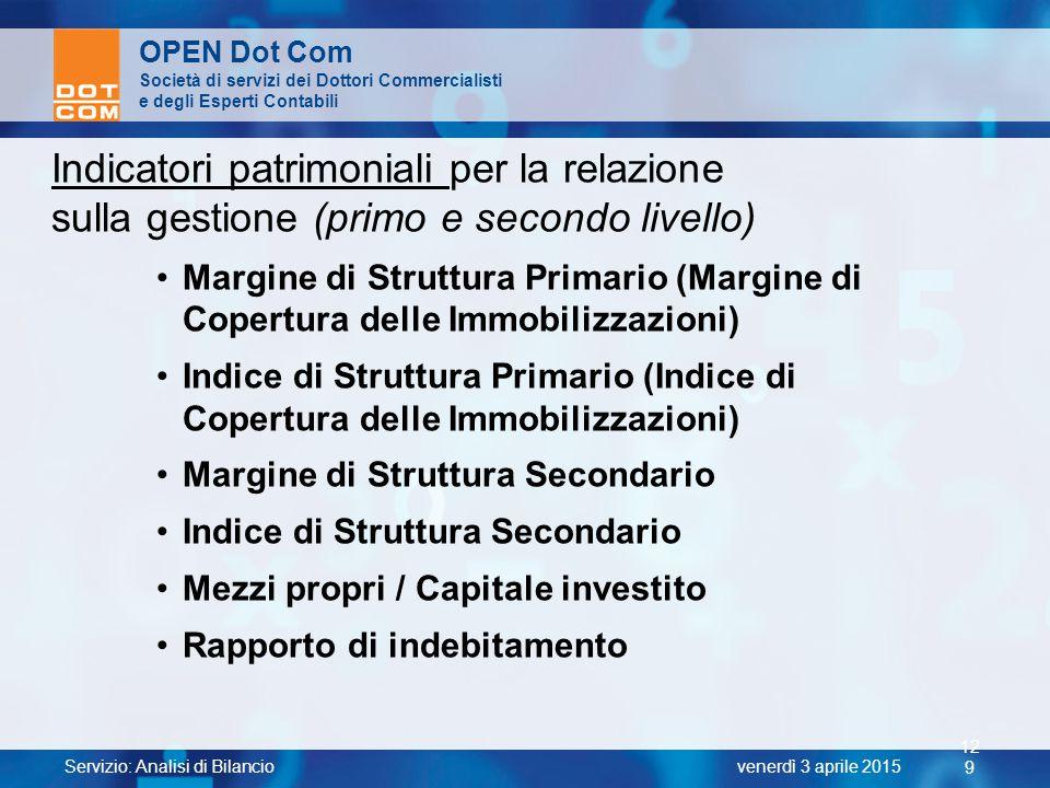 Indicatori patrimoniali per la relazione