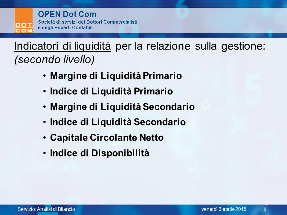 Indicatori di liquidità per la relazione sulla gestione:
