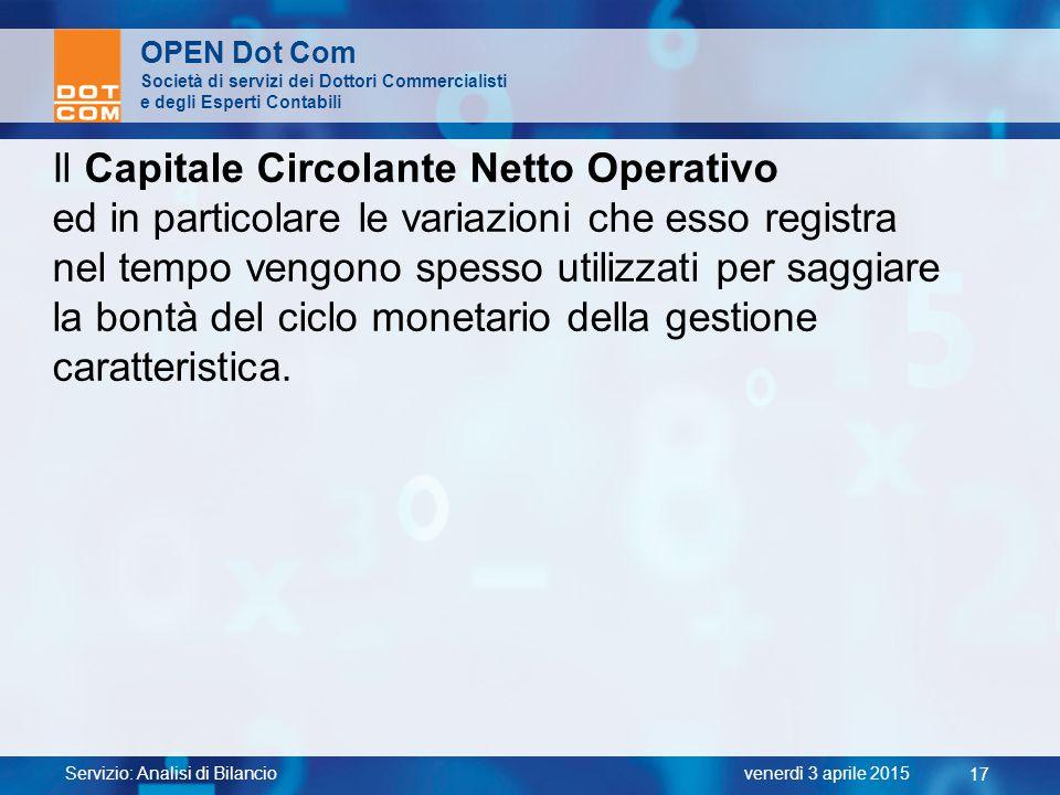 Il Capitale Circolante Netto Operativo