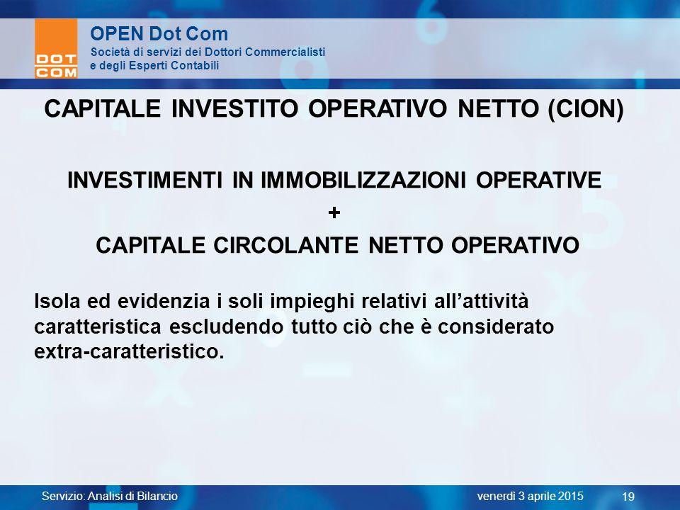 CAPITALE INVESTITO OPERATIVO NETTO (CION)