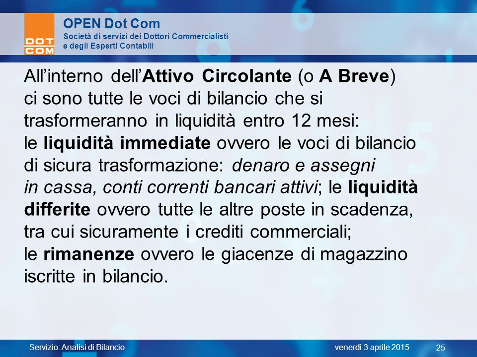 All'interno dell'Attivo Circolante (o A Breve)