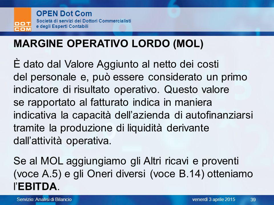 MARGINE OPERATIVO LORDO (MOL)