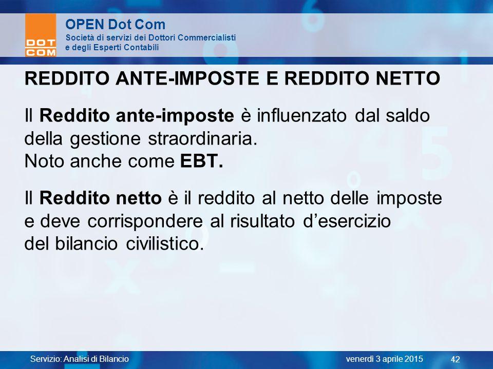 REDDITO ANTE-IMPOSTE E REDDITO NETTO