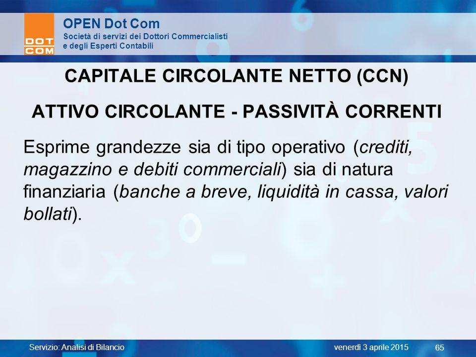 CAPITALE CIRCOLANTE NETTO (CCN) ATTIVO CIRCOLANTE - PASSIVITÀ CORRENTI