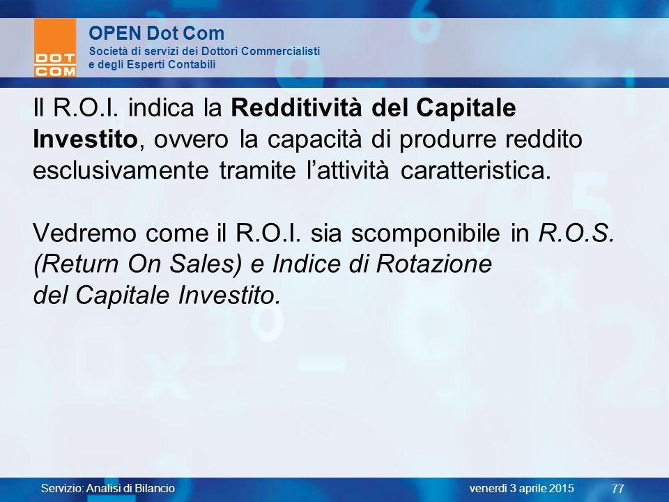 Il R.O.I. indica la Redditività del Capitale