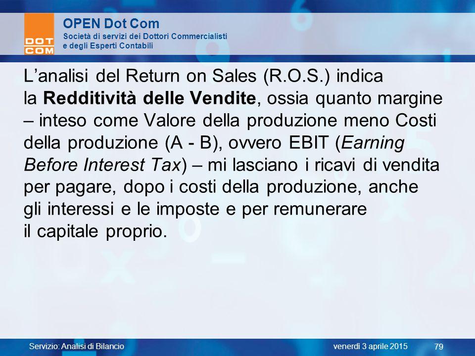 L'analisi del Return on Sales (R.O.S.) indica