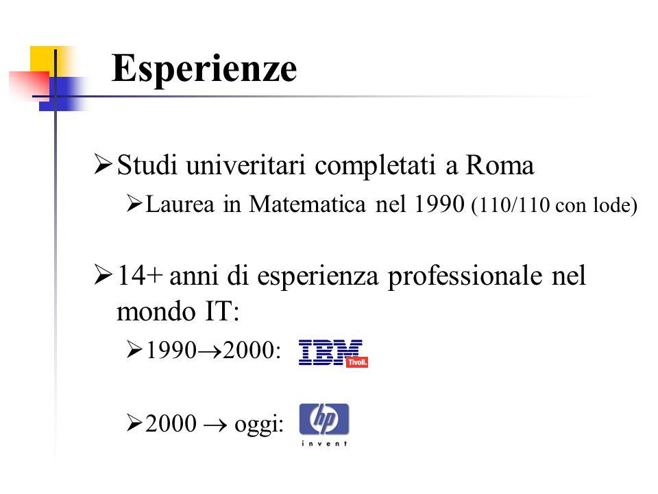 Esperienze Studi univeritari completati a Roma