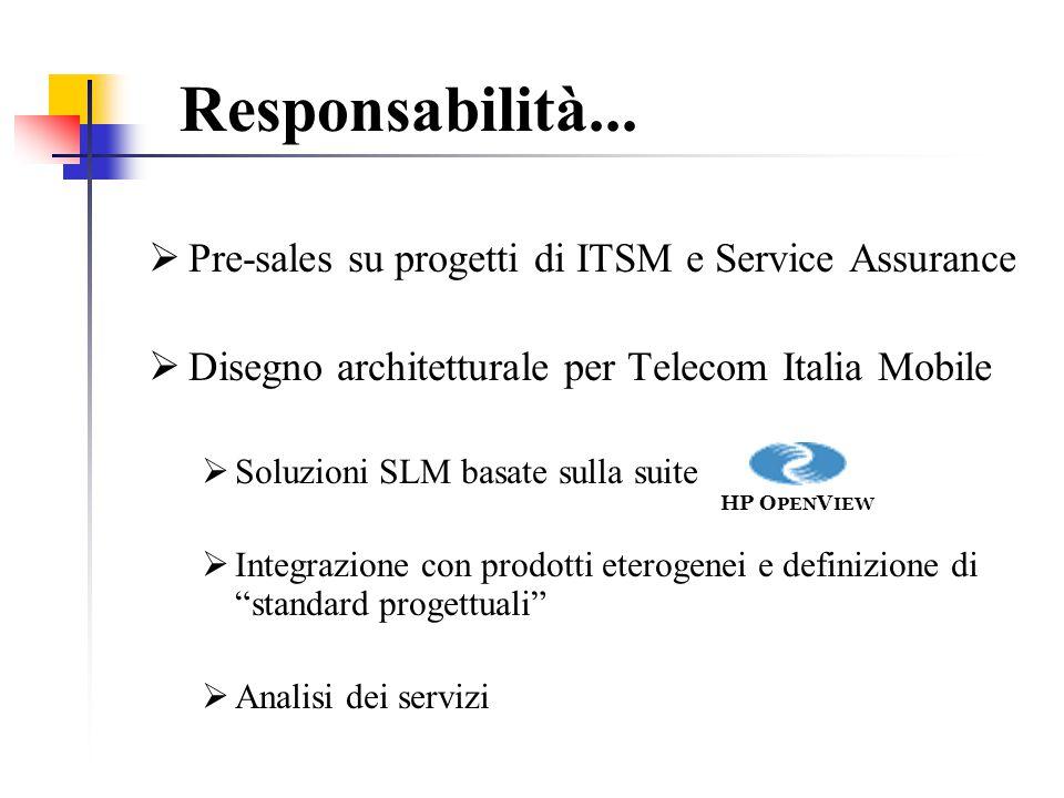 Responsabilità... Pre-sales su progetti di ITSM e Service Assurance