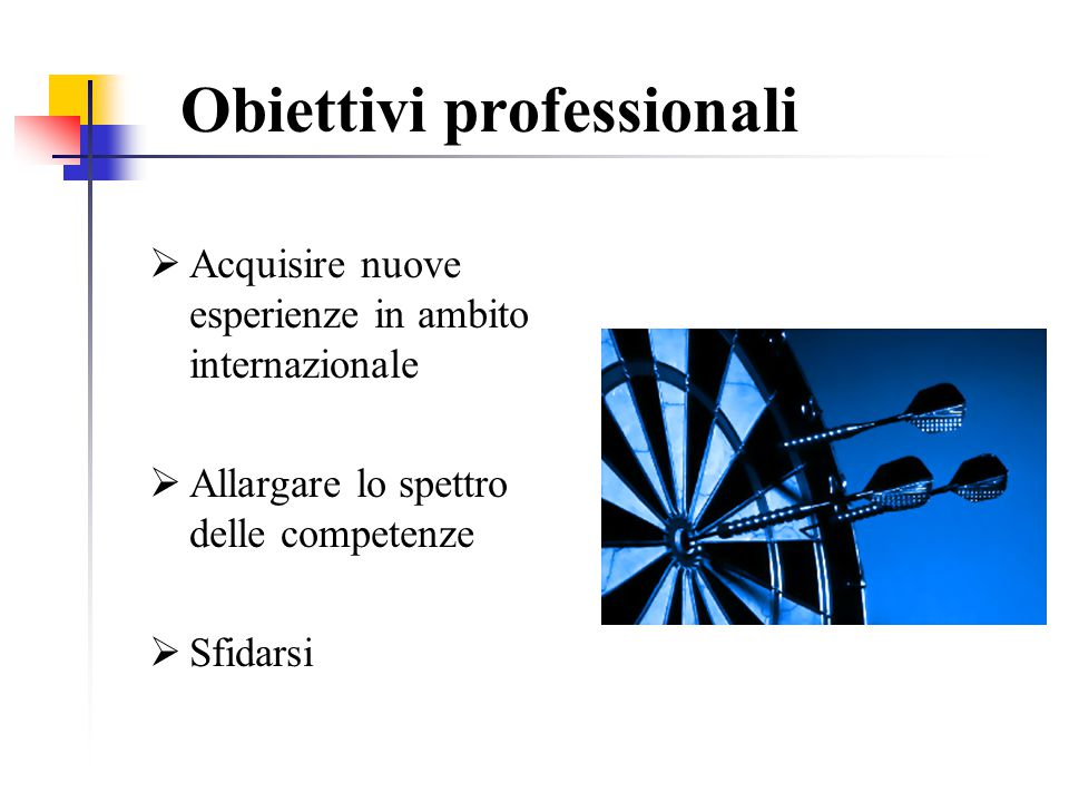 Obiettivi professionali