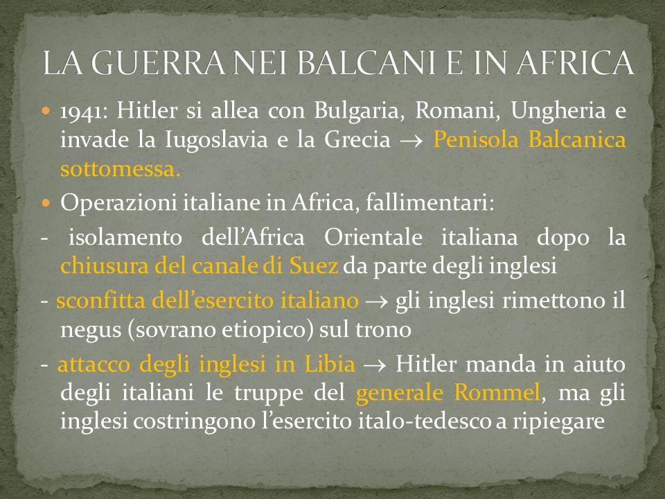 LA GUERRA NEI BALCANI E IN AFRICA