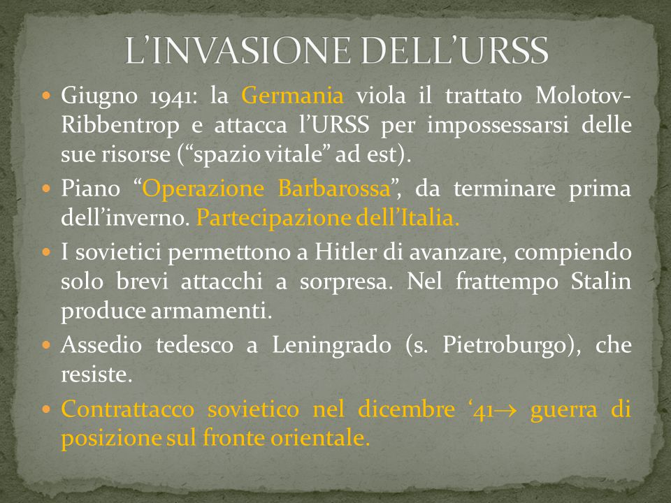 L'INVASIONE DELL'URSS