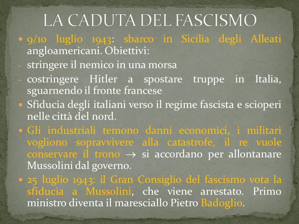 LA CADUTA DEL FASCISMO 9/10 luglio 1943: sbarco in Sicilia degli Alleati angloamericani. Obiettivi: