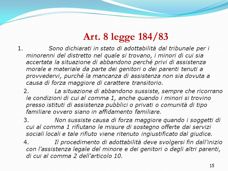 Art. 8 legge 184/83