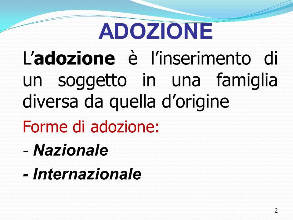 ADOZIONE L'adozione è l'inserimento di un soggetto in una famiglia diversa da quella d'origine. Forme di adozione: