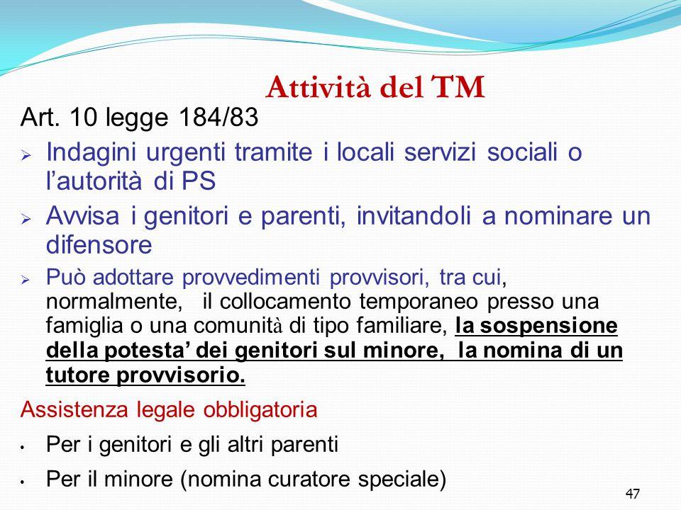 Attività del TM Art. 10 legge 184/83