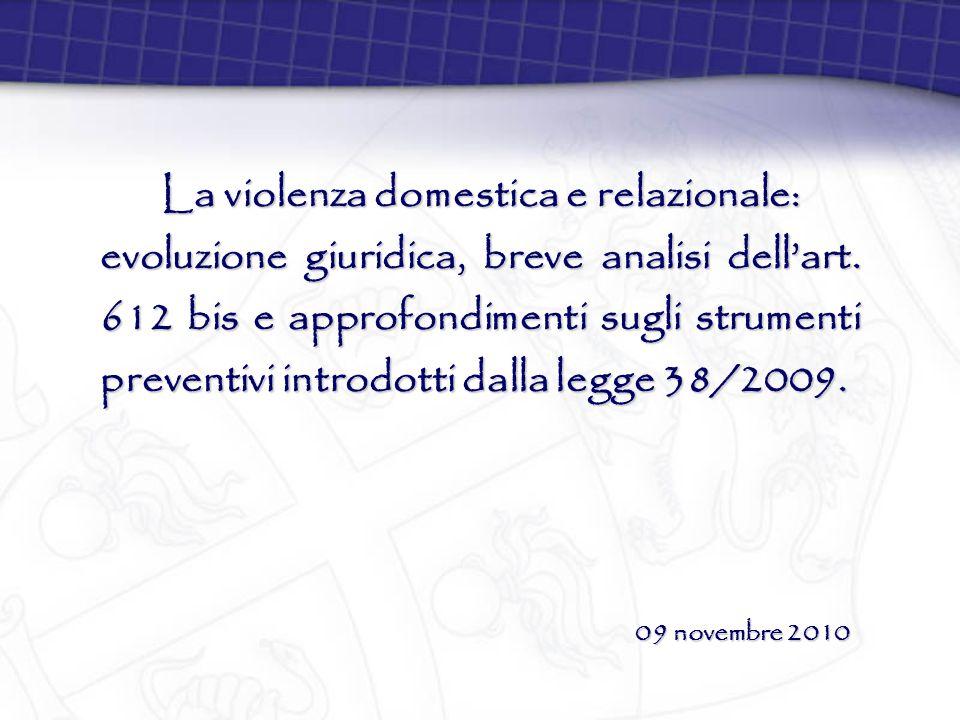 La violenza domestica e relazionale: