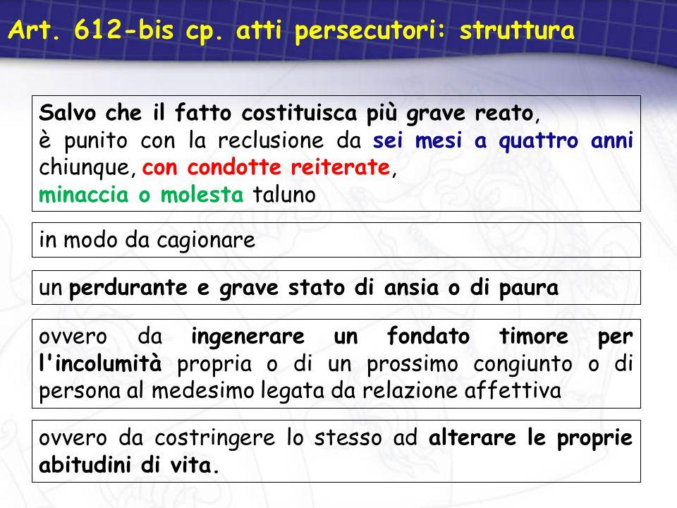 Art. 612-bis cp. atti persecutori: struttura