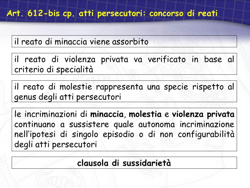 Art. 612-bis cp. atti persecutori: concorso di reati