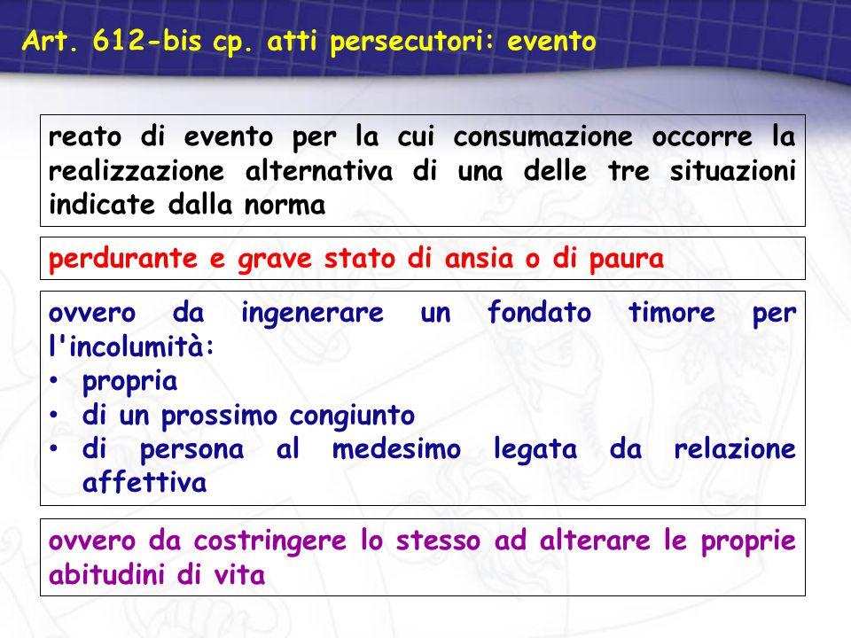 Art. 612-bis cp. atti persecutori: evento
